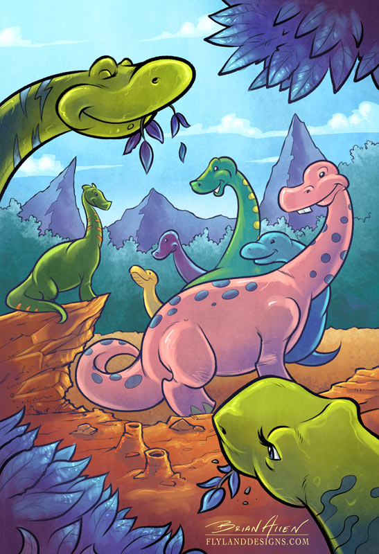 Dinosaur illustration for children's book