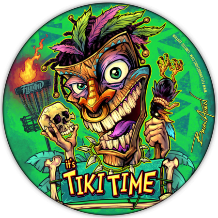 disc golf disc with a tiki man holding a skull