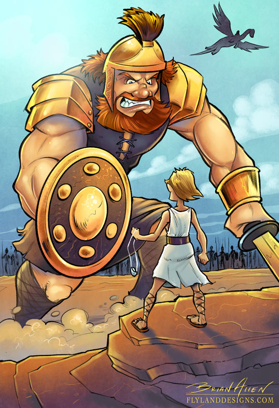 Children's Book Illustration of David and Goliath