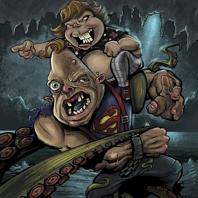 Illustration I did of Chunk and sloth from the goonies fighting a giant octopus, as they often do.#illustration #goonies #funny #parody #caricaure #cartoon #digitalpainting #creepy #brianallen #flylanddesigns #thegoonies #sloth #chunk