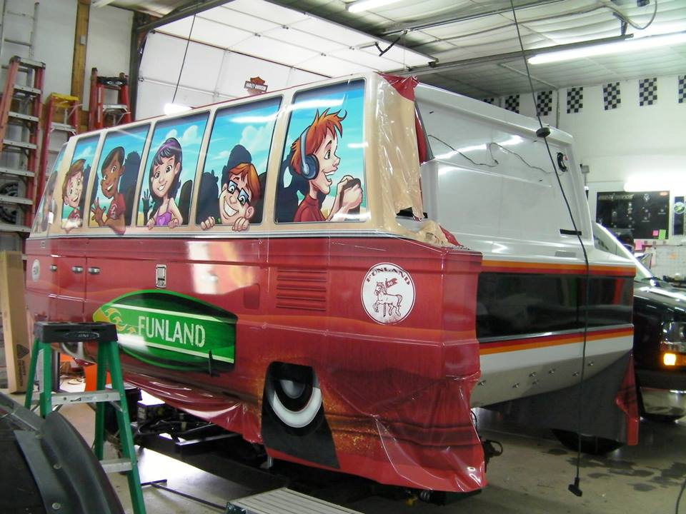 Graphic vehicle wrap illustration for amusement park ride