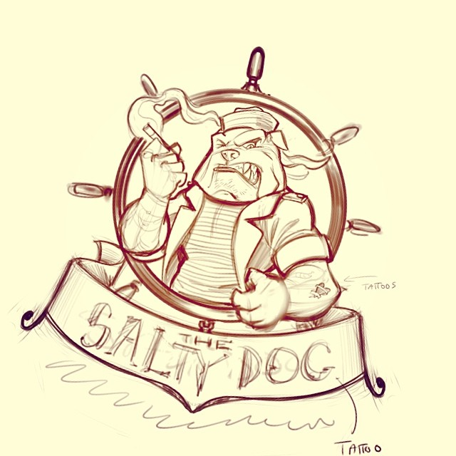 The sketch I did on a logo I did for a vaping shop called Salty Dog Vapor.