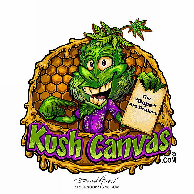 Logo design I created for Kush Canvas, an a printer specializing in canvas and paper made from hemp. Had a lot of fun with this one.Www.flylanddesigns.com #MANGASTUDIO #ART #DIGITAL #drawing #instaart #logo #mascot