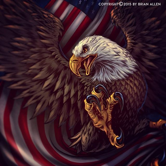 All finished! 110% MERICA! Eagle and flag t-shirt illustration for a welding company, direct-to-garment.Illustrated by Brian Allen, FlylandDesigns.com#mangastudio #eagle #illustration #tshirt #art #instaart #instaartist #picoftheday #patriotic #followme