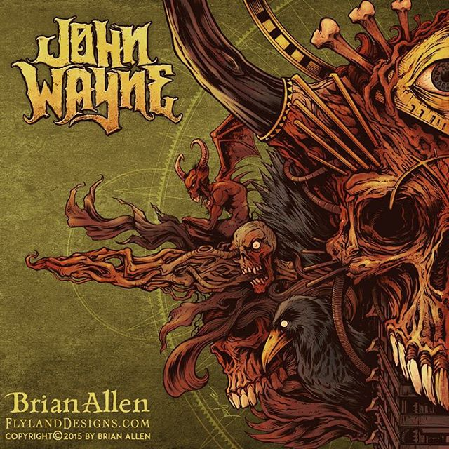 "Album cover I illustrated for the Brazilian heavy metal band John Wayne (named after John Wayne Gacy - not the other guy). It was a great pleasure working on this with the band, as they gave me a lot of freedom, and I set upon the design without much planning, and tried to let it flow.  This album cover is the first in a set of two albums, that when placed together will form one cohesive image.  This album represents the dark side, while the following album will have a similar design, but mirrored, and ""lighter."" #johnwayne #metal #albumcover #mangastudio #photoshop #illustration #tshirt #art #instaart #instaartist #picoftheday #igdaily #followme"