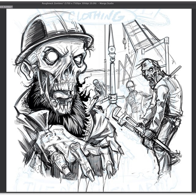 here is the sketch I did called Roughneck Zombies for Hard Ride Clothing.