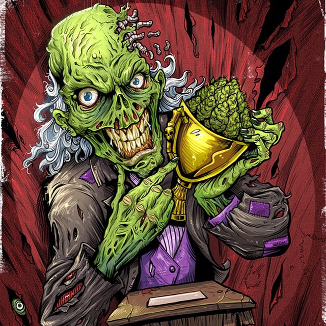 A detailed comic book illustration of a zombie holding a trophy.