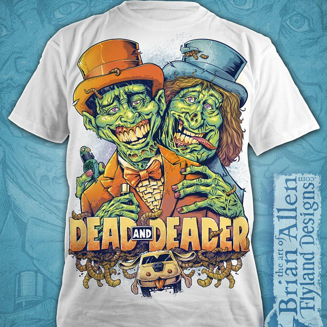 My finished dumb and dumber zombie parody illustration on a t-shirt available from designbyhumans.com.What do you think?Www.designbyhumans.com/shop/men/dead-and-deader-zombie-tribute-to-dumb-and-dumber/91276