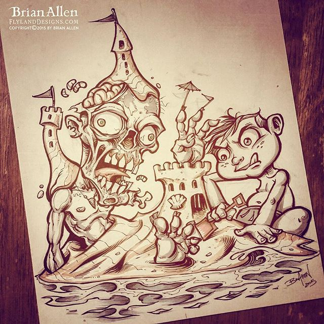 #Inktober Day 8!  Building sandcastles with my favorite zombie was always something I enjoyed as a kid.#beach #ink #zombie #art#illustration #tshirt #art #instaart #instaartist #picoftheday #igdaily #followme