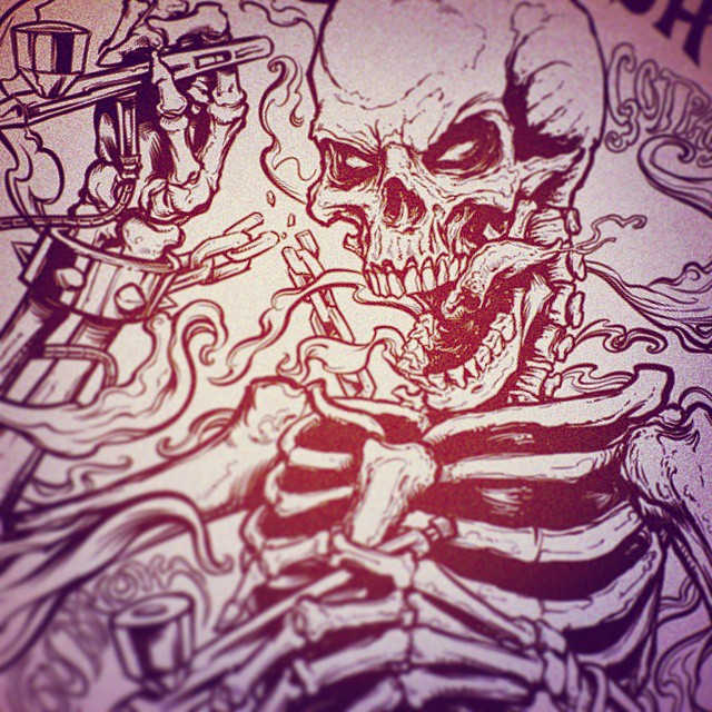 Drawing i did in Manga studio 5 of an airbrushing skeleton.  Check out my youtube review of Manga Studio 5: http://youtu.be/0MRZ4ytSkIQ#art #skull #instaart #mangastudio #skeleton #ink #drawing #airbrush