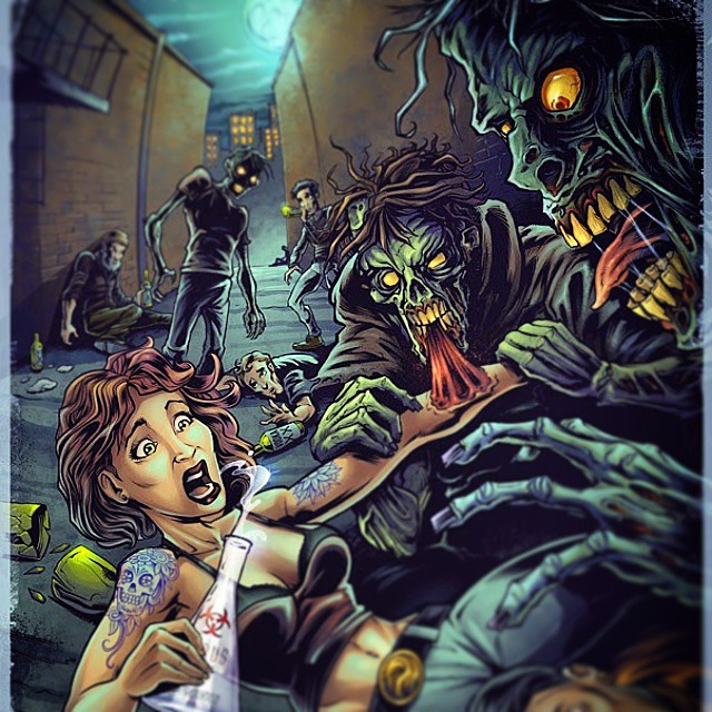 Finished zombie illustration I created for #virusvodka to advertise their cool new product.  Www.flylanddesigns.com