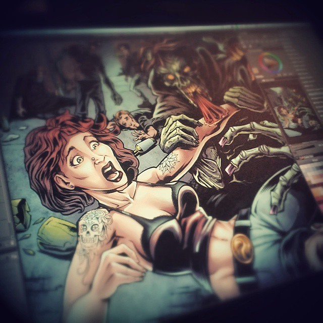 Coloring a poster I designed for Virus Vodka.  Www.flylanddesigns.com #MANGASTUDIO #ART #DIGITAL #VIRUSVODKA # ZOMBIES