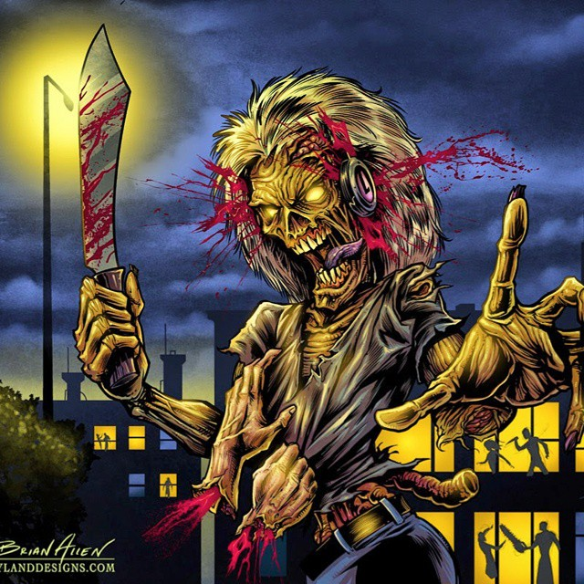 My tribute illustration to one of my favorite Iron Maiden album covers originally by the great Derek Riggs. I drew this in Manga studio and tried to add a bit of my own style to it.  Failed miserably of course when compared the original, but it was fun.Illustration by Brian Allen www.flylanddesigns.com #art #digital #mangastudio #ironmaiden #killers #instaart # albumcoverart #albumcover