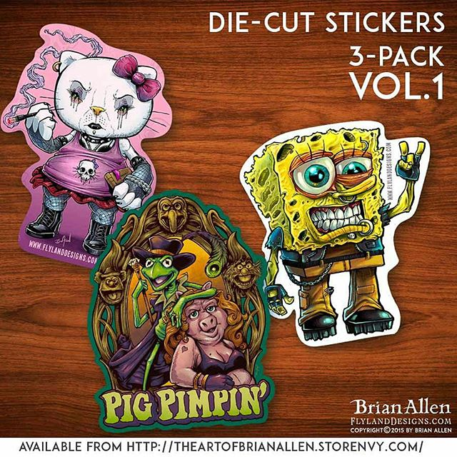 """So I've been wanting to produce and sell my own stickers for a while now, and finally had some time to do it.  The plan is to release a new 3-pack every couple months.  Here is volume 1 - featuring my artwork on die-cut 4""""  vinyl produced by #VinylDisorder.  Only $5 for the set (plus shipping). Hope you guys like them!http://ow.ly/SGEA5 #vinyl #stickers #spongeBob #HelloKitty #muppets #diecut"""