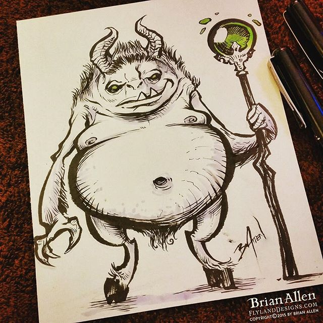 Happy #Inktober and #Drawlloween !  This is a drawing of one of the most feared and mysterious #demons in the darkest depths of the underworld.  His friends call him Frank.#inktober #Drawlloween #demon #ink #sketch #brush #blackandwhite #art #instaartist #brianallen