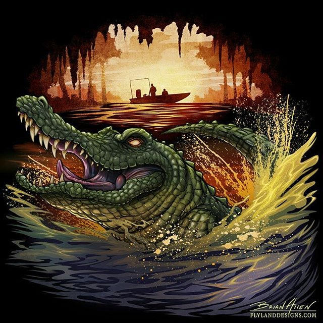 Thanks for all the recent followers and comments - I really appreciate it. I wanted to share this alligator I painted in photoshop for a t-shirt pitch to the documentary show Swamp People.  Any feedback on how this could have been better?#swamppeople #alligator #swamp #digital #art #painting #tshritart #photoshop
