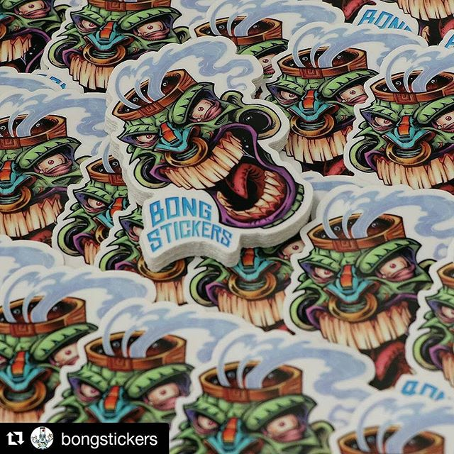 My friends at @vinyldisorder are cooking up about a million of my tiki head stickers available at @bongstickers .  Looks great guy!