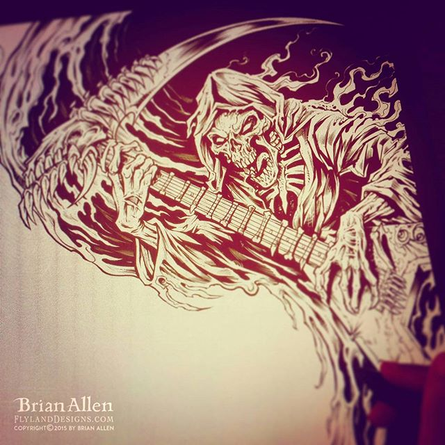 Working on something a little grim for an album cover. Ink in manga Studio 5.Illustration by Brian Allen www.flylanddesigns.com #art #digital #mangastudio #illustration #instaart #instaartwork #instaartist #instaartpop #artist #artshow #creative #artwork #followme