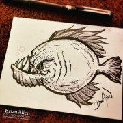 Angry Fish ink Sketch