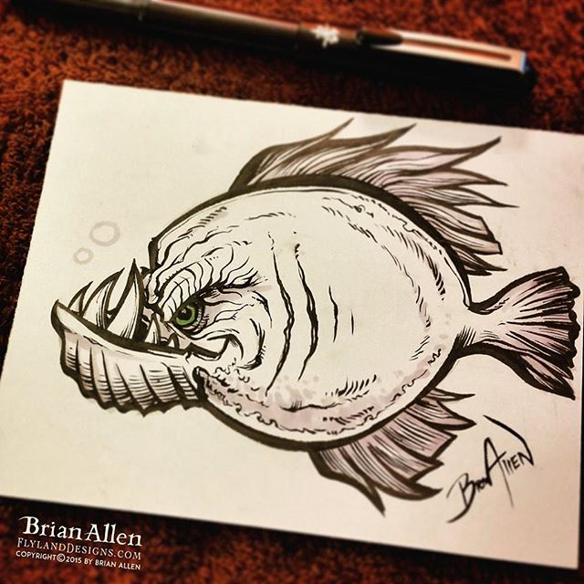 Day 16 of #Inktober is here, and I still haven't missed a day.  Though I've had to spend less time on some of these than I had wanted.  Today's drawing is an angry fish.  Thanks for all the great feedback and support with these, means a lot!#inktober #ink #fish #sketch #brush #blackandwhite #art #instaartist #brianallen