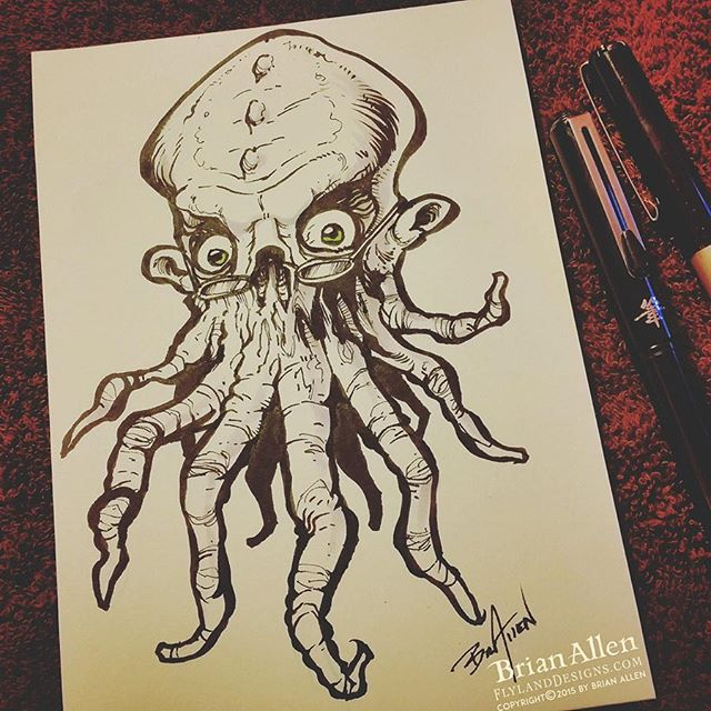 Bookish Squid Monster ink Sketch
