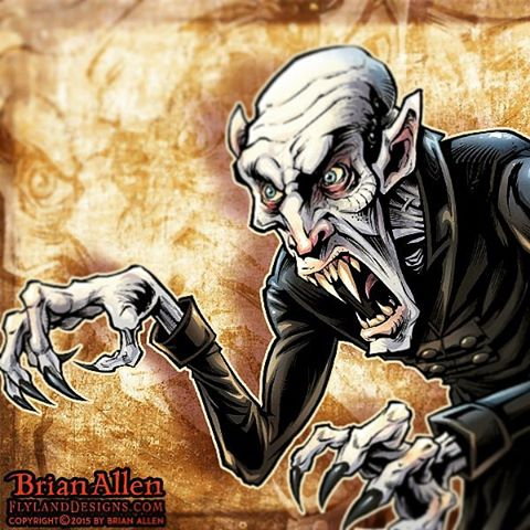 NOSFERATU!!! Here's an illustration I created in #MangaStudio of the greatest vampire ever for a huge illustration I created recently. So psyched about this project,Illustration by Brian Allen www.flylanddesigns.com #nosferatu #art #digital #mangastudio #illustration #instaart #instaartwork #instaartist #instaartpop #artist #artshow #creative #artwork #followme