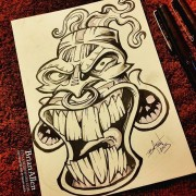 Tiki Mask ink Sketch