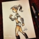 Bionic superhero chick ink sketch