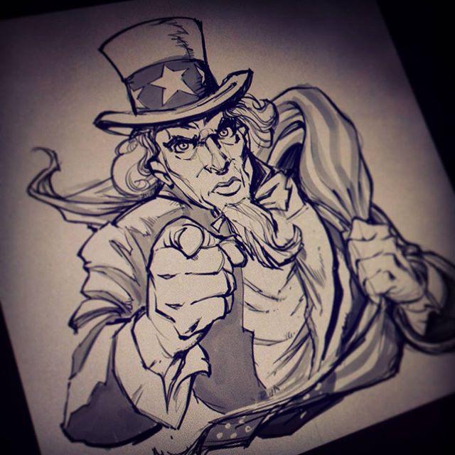 I WANT YOU... to stop drawing me so much.Illustration by Brian Allen www.flylanddesigns.com #art #digital #mangastudio #patriotic # unclesam #illustration #instaart #instaartwork #instaartist #instaartpop #artist #artshow #creative #artwork #followme
