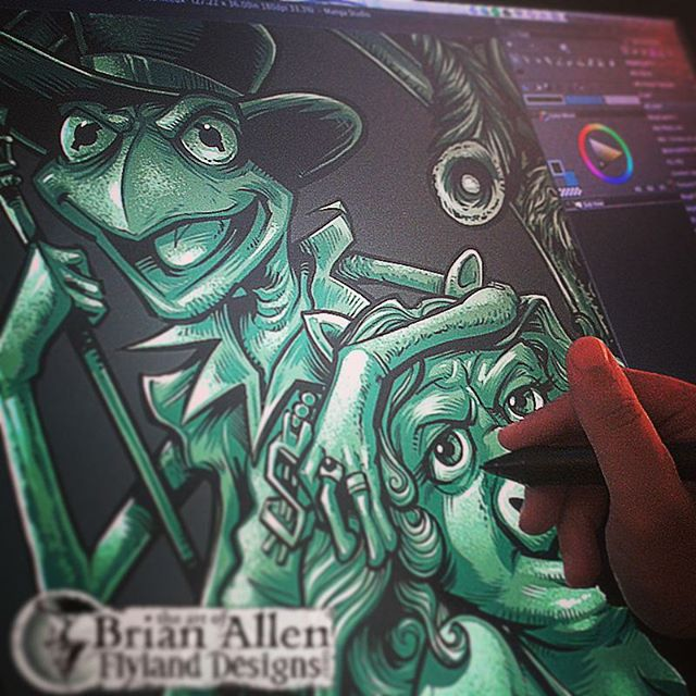 This is an older design, but I don't think I shared it on Instagram. Had the idea of Kermit and Miss Piggy as a pimp and ho, because my brain never graduated from the 6th grade. Drawn in Manga Studio 5Illustrated by Brian Allen, FlylandDesigns.com#muppets #funny#mangastudio #photoshop #illustration #tshirt #art #instaart #instaartist #picoftheday #igdaily #followme