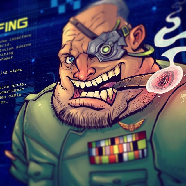 What's the secret to illustration? Cigars. A big fat cigar works every time. This is a character design I created for a game I've been working on with a client on and off. It's a really cool space shooter that has a heavy metal theme to it.Illustrated by Brian Allen, FlylandDesigns.com#characterdesign#mangastudio #photoshop #illustration #tshirt #art #instaart #instaartist #picoftheday #igdaily #followme