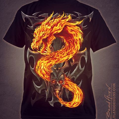 Here's the finished t-shirt for #SpiralDirect I created earlier this year. I'm really happy with how it turned out, and I've been told the design is doing really well in their catalog. Illustrated by Brian Allen, FlylandDesigns.com#dragon#mangastudio #photoshop #illustration #tshirt #art #instaart #instaartist #picoftheday #igdaily #followme