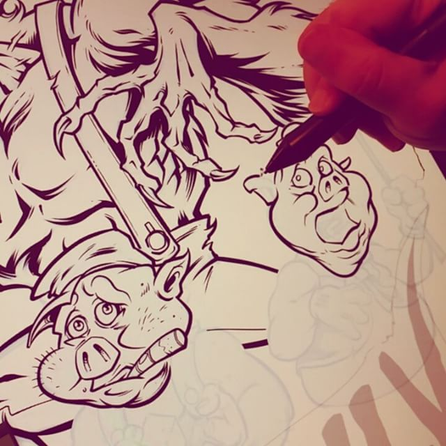 Inking the three little pigs and the big bad something or other...#ink #mangastudio5