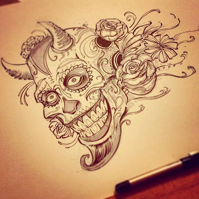 Just sketching a thing for a thing#dayofthedead #devil #ink