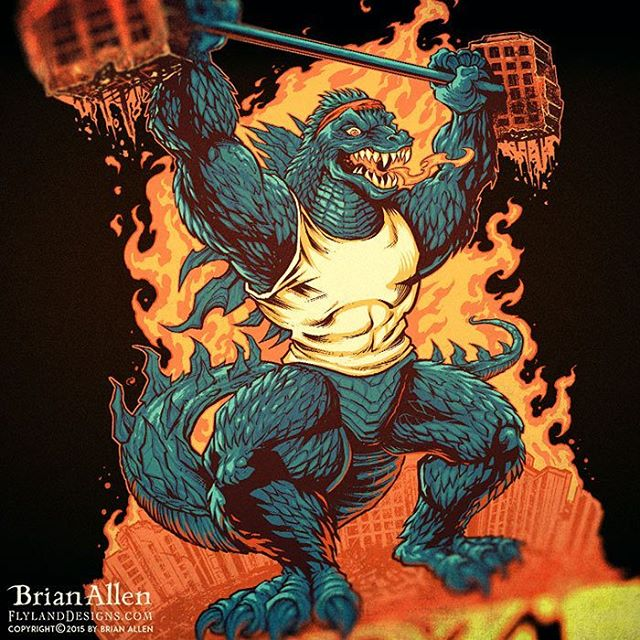 Sweet!  A Godzilla tribute illustration I did for a t-shirt was featured as the design of the day on Shirt.Woot!  Here's a detail shot of it - pick it up at http://shirt.woot.com/offers/godz-gym