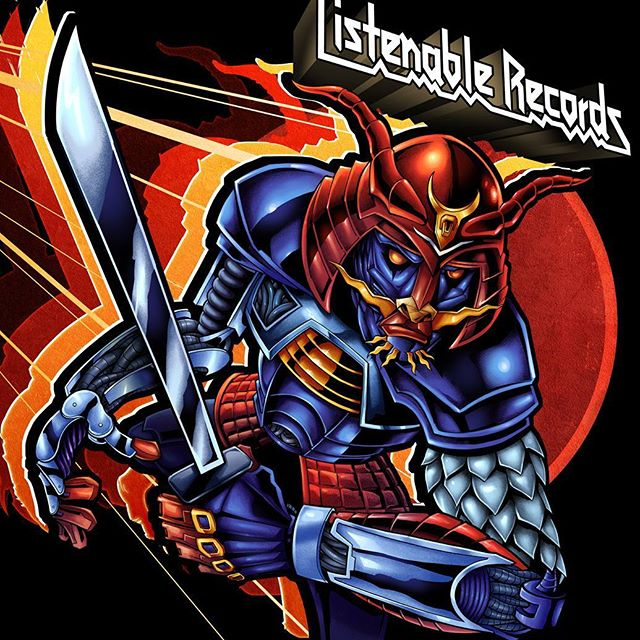 Always a pleasure working with my friends at Listenable Records. For this year's sampler featuring the labels best tracks, we chose to pay tribute to the classic Defenders of the Faith album cover from Judas Priest. I thought it would be cool to draw a samurai in the same art style and color scheme as that record, and really give it a nice retro theme, with bright primary colors. Really dig the way this came out - might make a great sticker.Illustrated by Brian Allen, FlylandDesigns.com#mangastudio #judaspriest #illustration #album #art #instaart #instaartist #picoftheday #listenable #followme
