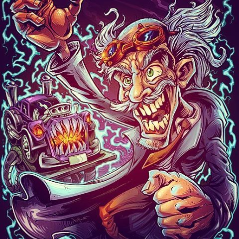 I created this mad scientist character for an auto-repair shop whose specialty is custom built choppers and hotrods.  The brand wanted a dark but playful design that illustrated them as a blend of mechanic and mad scientist.  I thought it would be cool to show a frankenstein-ed hotrod on the operating table behind the mad scientist, as he raises his creation up to the lightning.  This design was created for direct-to-garment printing.Illustrated by Brian Allen, FlylandDesigns.com#mangastudio #scientist #illustration #tshirt #art #instaart #instaartist #science #igdaily #followme