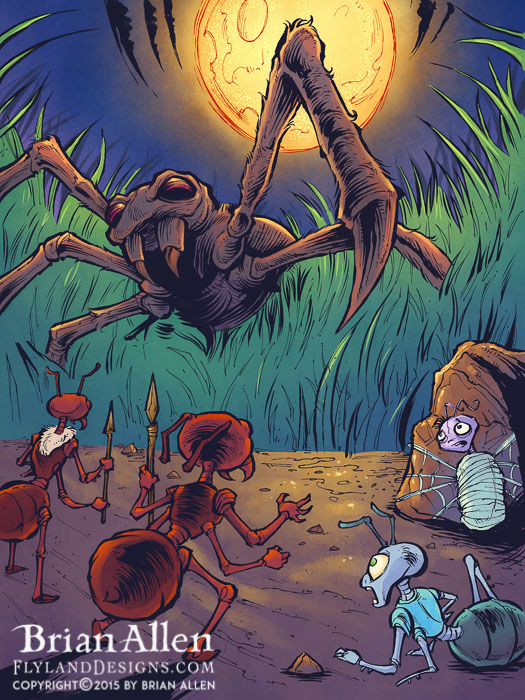 Chlidren's book illustrations featuring a team of cartoon ant detectives