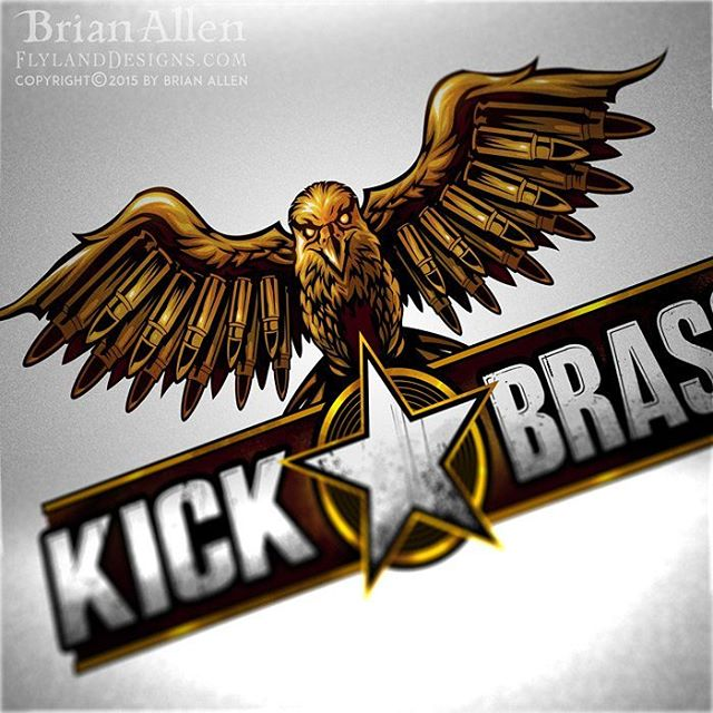 I was recently hired to illustrate and design this eagle logo for a new apparel brand for gun-enthusiasts called Kick Brass. The logo was needed in a very short period of time to get it ready for a sales pitch, so we scrambled to come up with as many ideas as possible in the beginning. After looking over the sketches, we went in the direction of a bronze eagle with bullets for feathers. I wanted the emblem to look like a military badge of honor. I set up the logo in several different variations: one-color, limited-color silk-screening, and a full-color version.Illustrated by Brian Allen, FlylandDesigns.com#military #photoshop #illustration #logodesign #art #instaart #instaartist #eagle #igdaily #followme