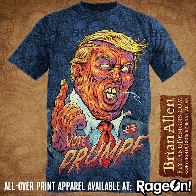 Here's my #trump #zombie t-shirt I illustrated just for the heck of it.  Available at RageOn for just $25 - just search Trump Zombie.  I've drawn a lot of zombies, but this one is by far the orangest!Illustration by Brian Allen www.flylanddesigns.com #trump #zombie #art #digital #mangastudio #illustration #instaart #instaartwork #instaartist #instaartpop #artist #artshow #creative #artwork #followme