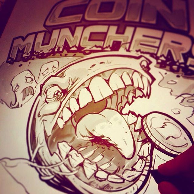 Sketching a logo design for an arcade in California of a whacked-out Pac-Man#pac-man #arcade #coins #sketch