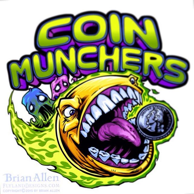 Logo design I created of an evil pac-man for an arcade's logo design and branding.  The client wanted something identifiable to the retro gaming crowd, while putting a hard and extreme edge on the style.  I thought it would be fun to turn the lovable yellow disc into a rabid, coin-munching psychopath.Illustrated by Brian Allen, FlylandDesigns.com#arcade #pacman #mangastudio #photoshop #illustration #tshirt #art #instaart #instaartist #picoftheday #igdaily #followme