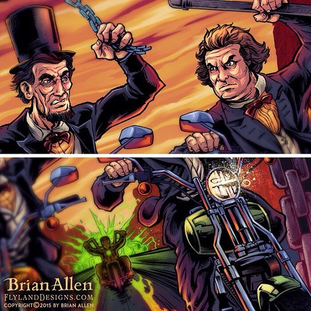 Here's a detail shot of this crazy motorcycle rally poster I did with Lincoln and Douglas in an epic battle...