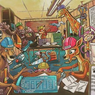 This is a detailed series of illustrations I created for a children's book teaching kids about construction.  Each double-page spread was packed with animal characters, vehicles, tools, and activities.  The book challenges kids to hunt out objects and solve problems within the illustration, so I had to draw everything in a way that certain elements were intentionally hard to find.  I had a lot of fun with this, because I had a lot of freedom to design the characters and draw them in my style.