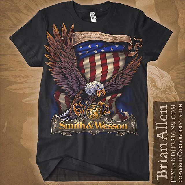 Here's the final S&W design I created - like the previous design, this one had to be set up as a limited color silk-screen job, which threw me some challenges.  Working with larger clients like this can be nerve-wracking, but I was lucky that they were happy with the designs in the end.Illustrated by Brian Allen, FlylandDesigns.com#mangastudio #photoshop #illustration #tshirt #art #instaart #instaartist #picoftheday #igdaily #followme