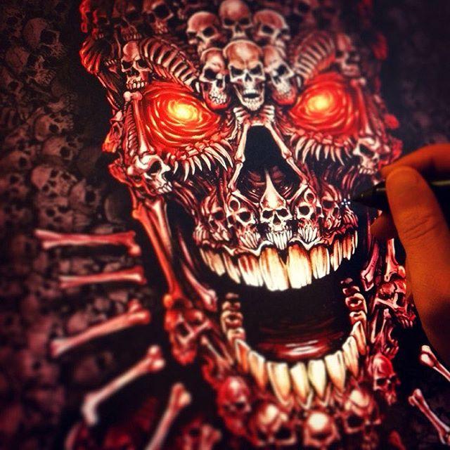 Oooooo - Creepy skulls!  Drawing in Clip Studio Paint for some wrestling singletsIllustrated by Brian Allen, FlylandDesigns.com#mangastudio #photoshop #illustration #tshirt #art #instaart #instaartist #picoftheday #igdaily #followme