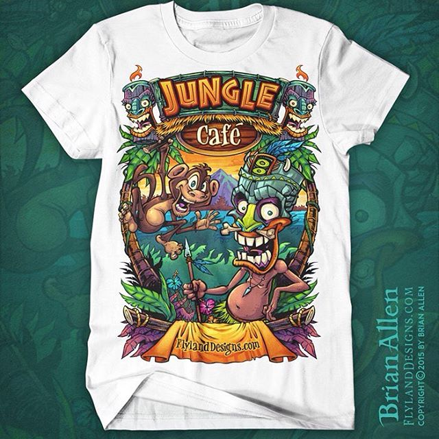 Jungle Cafe t-shirt template I created available for licensing at https://www.flylanddesigns.com/licensing/#tshirt #template #tiki