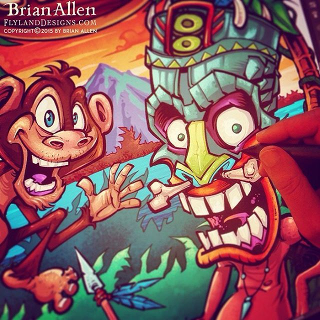 Some fun jungle characters I illustrated in Clip Studio Paint.  You can't be a legit witchdoctor without a pet monkey. Illustrated by Brian Allen, FlylandDesigns.com#jungle #tshirt #template #illustration #mangastudio #photoshop #illustration #tshirt #art #instaart #instaartist #picoftheday #igdaily #followme