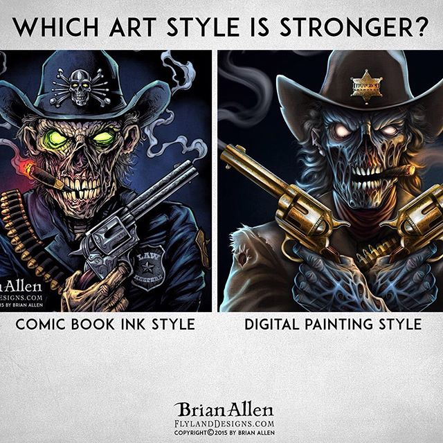 Which of my art styles do you think is better? I often switch between a line-art driven comic book style, and a digital painting style depending on the project. The line-art style is more familiar to me, and I think it's easier to convey a strong identifiable style in the artwork. But the digital painting style can come across as more realistic, and is often what clients in the darker genre are looking for.Which of these is a stronger piece? Thanks for your help!#digitalpainting #art #zombie #trooper #outlaw