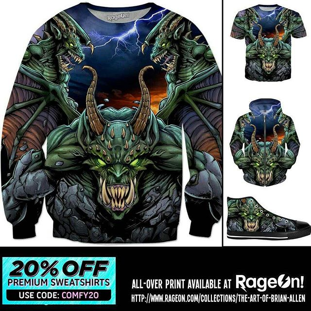 Put some of my Gargoyle artwork on all-over print apparel at RageOn - all sweatshirts are 20% off today #allover #apparel #gargoyle #art